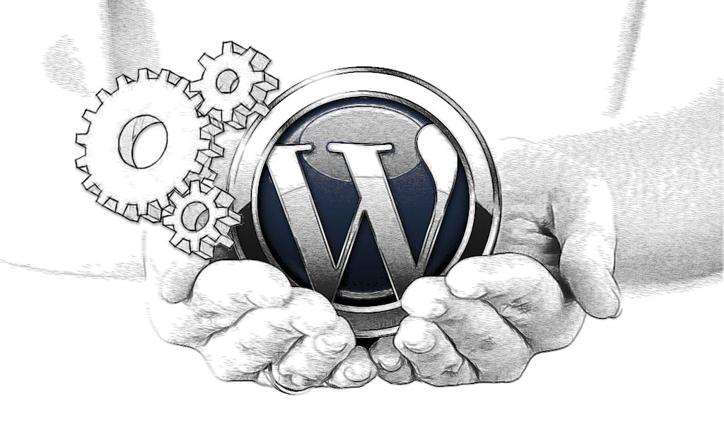 WordPress Development. WordPress logo in cupped hands with 3 dimensional cogs
