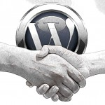 Companies using Wordpress are finding it is good for business. WordPress logo with handshake.